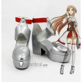 Sword Art Online SAO Hollow Realization Yuuki Asuna Silver Cosplay Shoes Boots