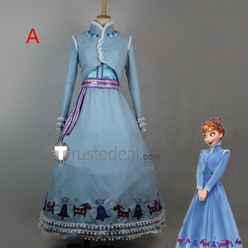 Olaf's Frozen Adventure Anna and Elsa Dress Cosplay Costumes