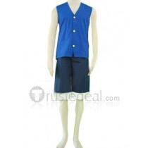 One Piece Monkey D Luffy Blue Cosplay Waistcoat Costume