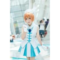 Love Live Rin Hoshizora Wonderful Rush Blue White Dress Cosplay Costume
