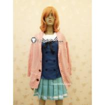 Kyoukai no Kanata Beyond the Boundary Kuriyama Mirai Pink Sweater Cosplay Costume