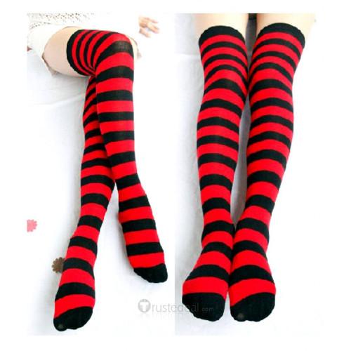 Panty & Stocking with Garterbelt Red Black Striped Stockings