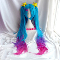 League of Legends Sona Arcade Blue Pink Cosplay Wig