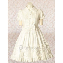 Cotton White Short Sleeves Bow Cotton Lolita Dress(CX172)