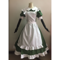 Hetalia Axis Powers Hungary Little Elizaveta Green White Maid Cosplay Costume2