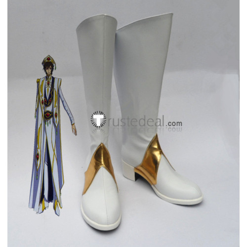 Code Geass Lelouch Lamperouge Zero White Cosplay Boots Shoes
