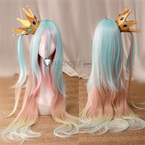 No Game No Life Shiro Long Blue Pink Cosplay Wig 2