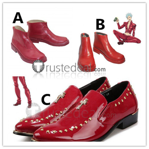 The Seven Deadly Sins Nanatsu no Taizai Ban Cosplay Red Shoes Boots
