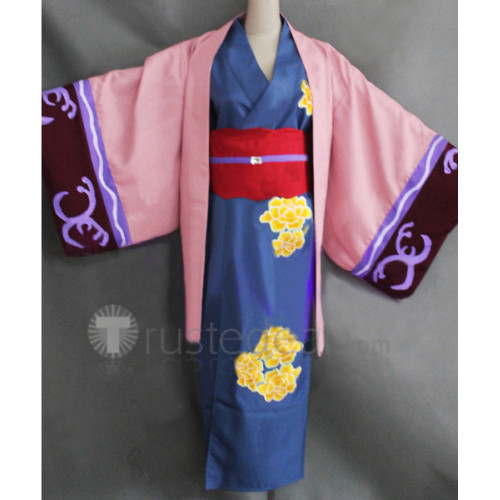 Gintama Tsukuyo Flowers Painted Kimono Cosplay Costume