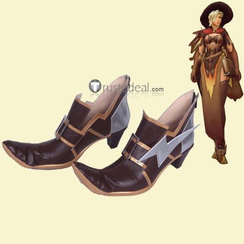 Overwatch Angela Ziegler Mercy Witch Skin Brown Cosplay Boots Shoes