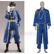 Full Metal Alchemist Roy Mustang Military Blue Uniform Cosplay Costume