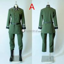 Hetalia Axis Powers Germany Ludwig Green Brown Cosplay Costume
