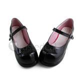 Shiny black Girls Single Belt Princess Shoes