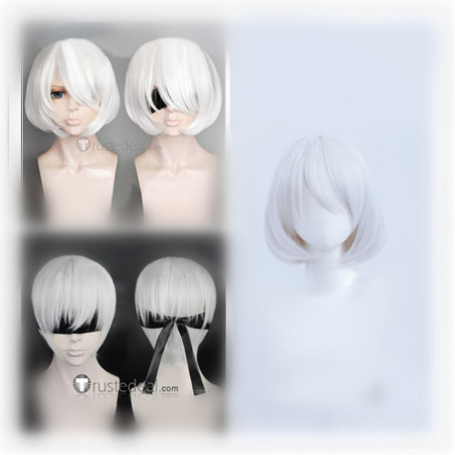 Nier Automata 2B 9S Silver White Cosplay Wigs