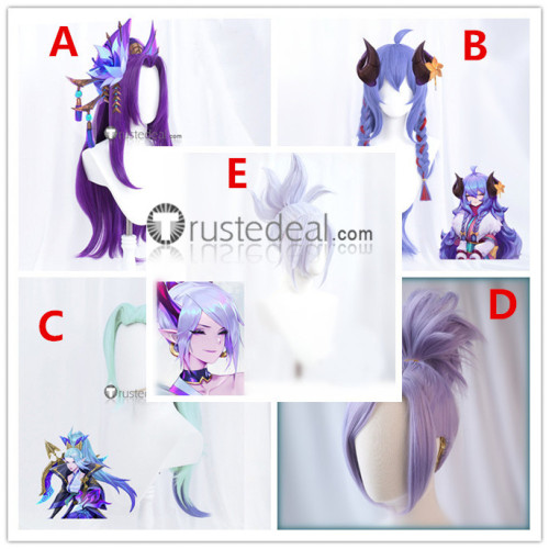 League of Legends LOL Spirit Blossom Vayne Cassiopeia Kindred Riven Blue Purple Silver Cosplay Wigs