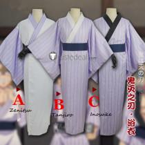 Kimetsu no Yaiba Demon Slayer Tanjiro kamado Zenitsu Agatsuma Inosuke Hashibira Purple Yukata Kimono Cosplay Costumes