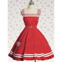 Cotton Red Sash Sleeveless Lolita Dress(CX170)