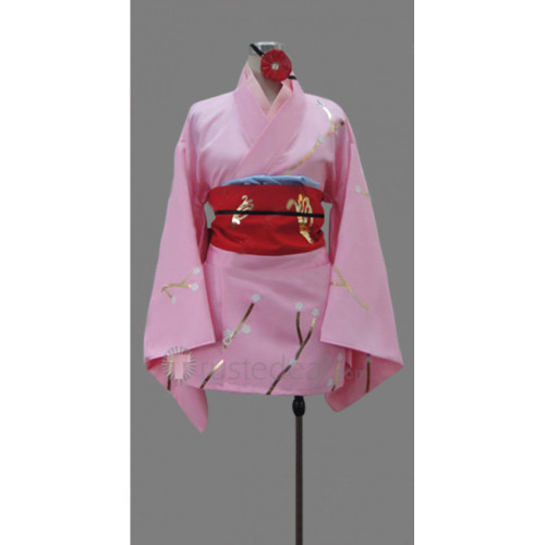 Gintama Kyubei Yagyu Pink Kimono Cosplay Costume