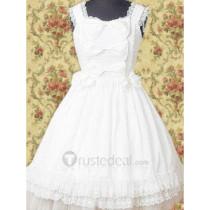 Cotton White Lace Bow Lolita Dress(CX605)