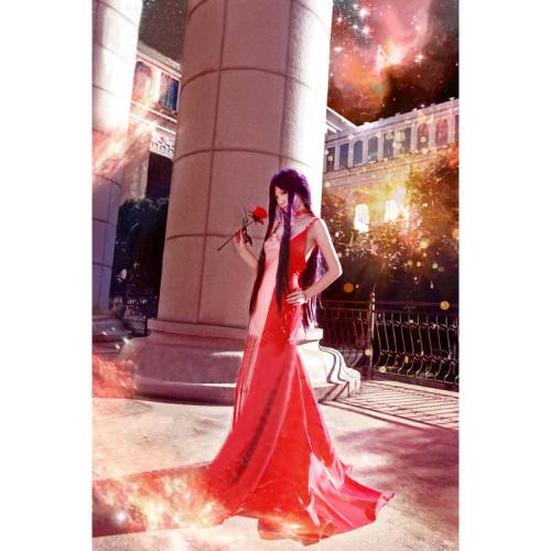 Sailor Moon Hino Rei Sailor Mars Illustration Red Princess Dress Cosplay Costume