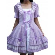 Cotton White Purple Short Sleeves Ruffle Lace Lolita Dress(CX434)