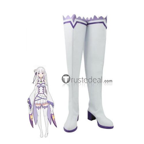 ReZero kara Hajimeru Isekai Seikatsu Emilia Elf  White Cosplay Shoes Boots