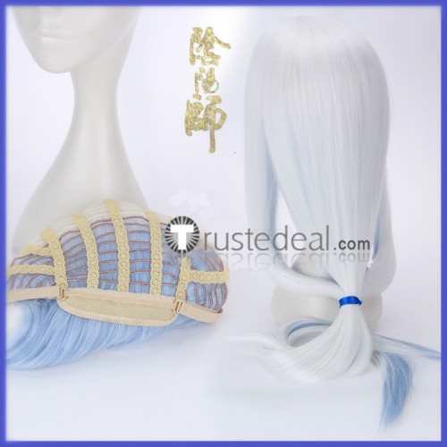 Onmyoji Abe no Seimei QingMing White Light Blue Cosplay Wig