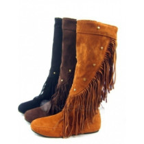 Top quality PU leather flat heel pumps top fold with lay fring side knee boots (D1072)