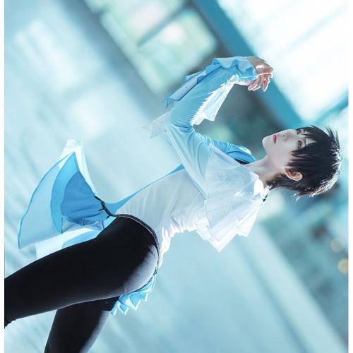 Yuri on Ice Katsuki Yuuri Skating Performance Blue White Gradients Uniform Cosplay Costume
