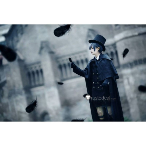 Black Butler Kuroshitsuji Ciel Phantomhive Black Funeral Dress Cosplay Costume