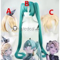 Vocaloid Ready Steady Hatsune Miku Kagamine Rin Len Blonde Green Ponytails Cosplay Wigs