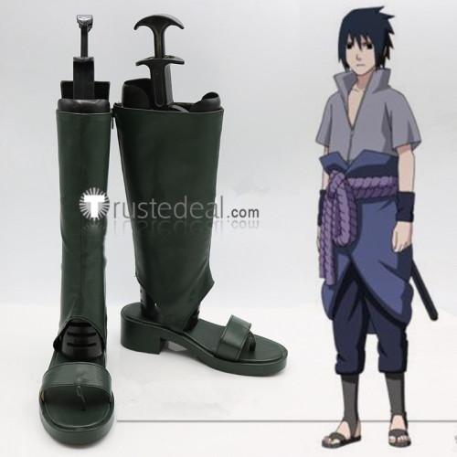 Naruto Shippuden Sasuke Uchiha 4th Black Cosplay Boots Shoes