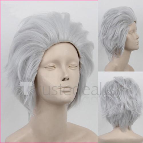 Ace Attorney Gyakuten Saiban Godot White Silver Cosplay Wigs