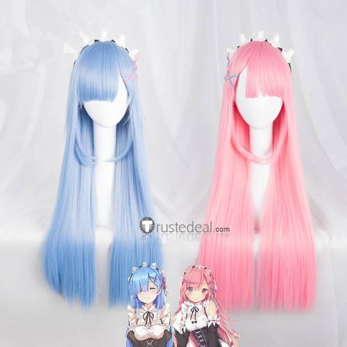 Re Zero Kara Hajimeru Isekai Seikatsu Twins Rem Ram Long Blue Pink Cosplay Wigs