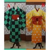 Kimetsu no Yaiba Demon Slayer Tanjiro kamado Zenitsu Agatsuma Inosuke Hashibira Female Version Kimono Cosplay Costumes