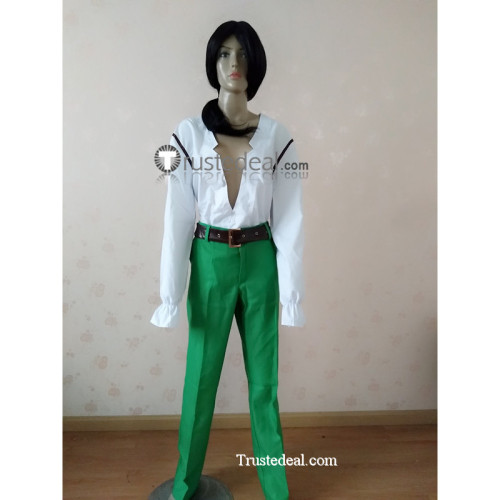Monkey Island Largo LaGrande Pirate White Green Cosplay Costume