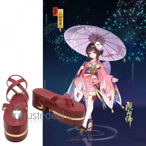 Onmyoji Kagura Dark Red Cosplay Shoes Boots