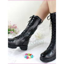 Top quality PU flat heel with laces boots(D1071)