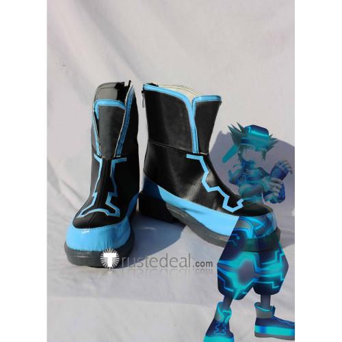 Kingdom Hearts Sora Black Blue Cosplay Boots Shoes