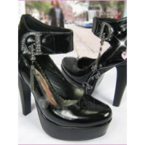 Top quality patent leather upper high Heel Pumps platform elevation and one strap Closed-toes closure with rhinestone dress shoes (B1092)