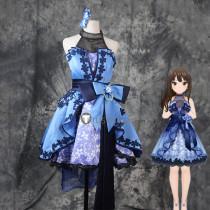 The Idolmaster Cinderella Girls Rin Shibuya SSR Blue Lolita Dress Cosplay Costume