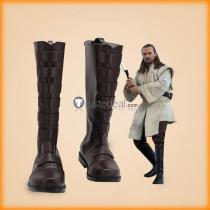 Star Wars Qui-Gon Jinn Brown Black Cosplay Shoes Boots