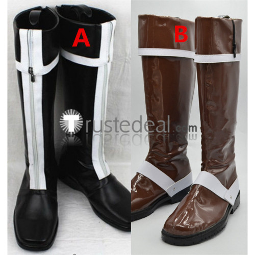 D.Gray-man Allen Walker Black White Brown Cosplay Boots Shoes
