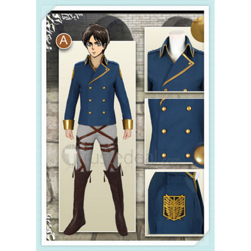 Attack on Titan Shingeki No Kyojin The Wings of Counterattack Eren Jaeger Blue Cosplay Costume