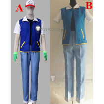 Pokemon Indigo League Ash Ketchum Blue Cosplay Costume