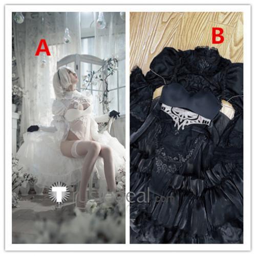 Nier Automata 2B Bride Wedding Dress White Black Fanart Cosplay Costumes