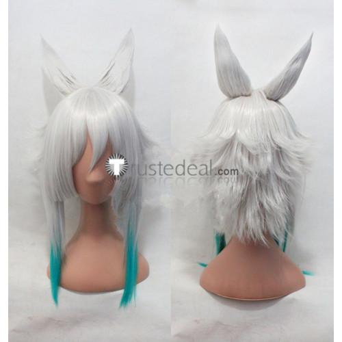 Twin Star Exorcists Sousei no Onmyouji Tatara White Blue Cosplay Wig Ears