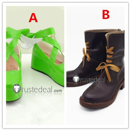 Shugo Chara Amu Hinamori Amulet Clover Amulet Spade Green Cosplay Shoes Boots