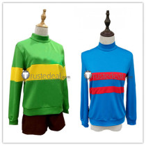 Undertale Chara Frisk Green Blue Cosplay Costumes