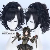Edward Scissorhands Bishoujo Female Gothic Halloween Black Ponytail Cosplay Wig